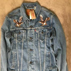 Levis Mens Eagle Fugi Trucker Jean Jacket